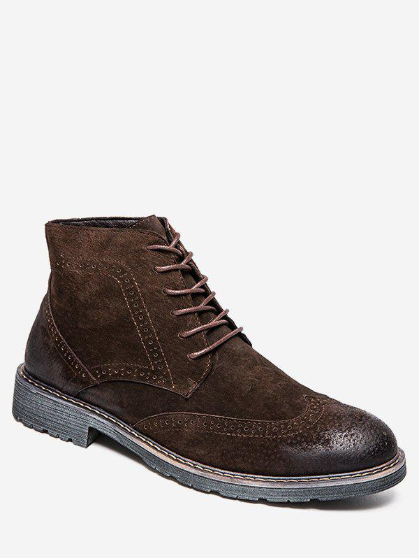 Online Retro Lace Up Suede Wing Tip Boots
