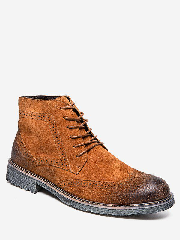 Cheap Retro Lace Up Suede Wing Tip Boots