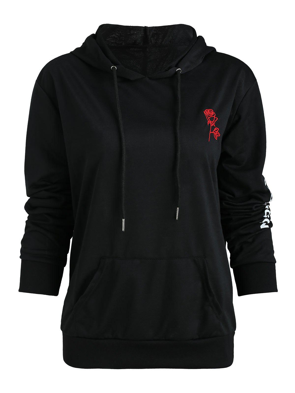 Shop Rose Embroidered Letter Print Hoodie