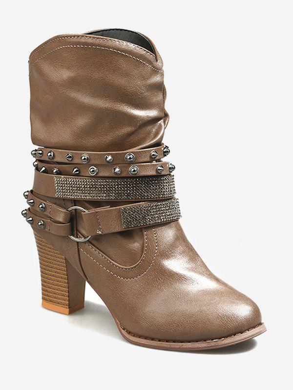Hot Studded Strap Wrap Ankle Slouch Boots