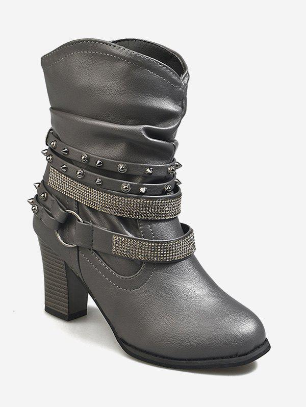 Chic Studded Strap Wrap Ankle Slouch Boots