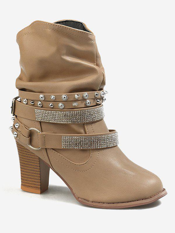 Best Studded Strap Wrap Ankle Slouch Boots