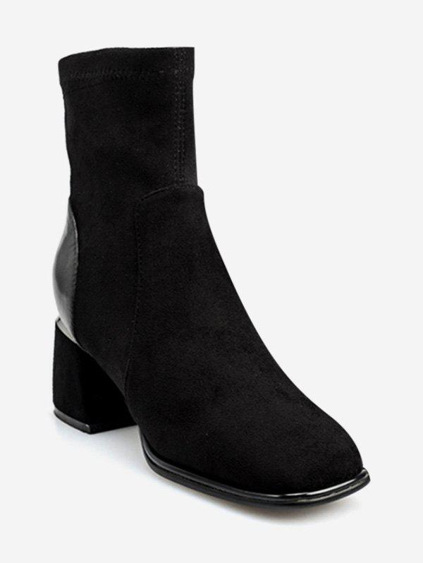 Chic Square Toe Chunky Heel Ankle Boots