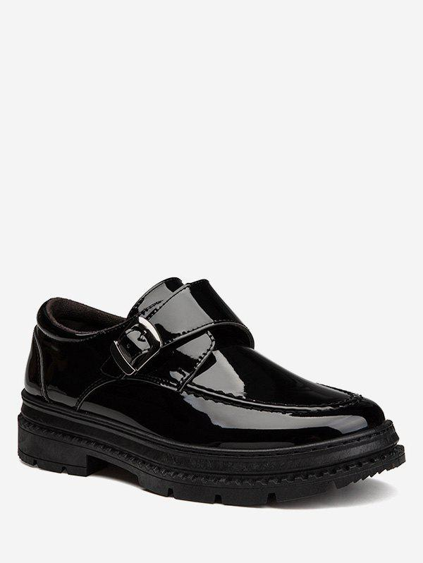 Fancy Buckle Strap Patent Leather Sneakers