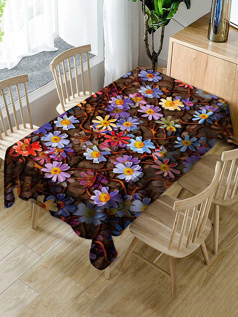 Chic Flowers Print Fabric Waterproof Tablecloth