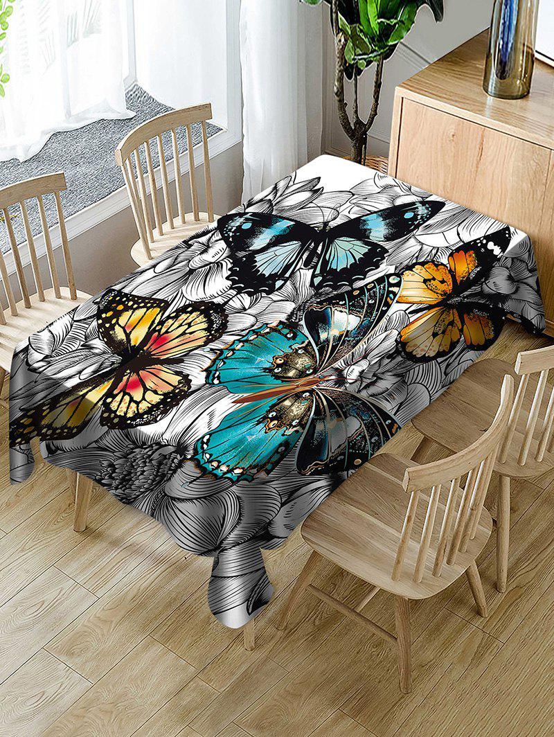 Buy Butterfly and Flower Print Fabric Waterproof Tablecloth