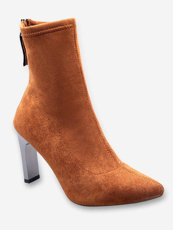 Outfits Block Heel Pointed Toe Suede Boots
