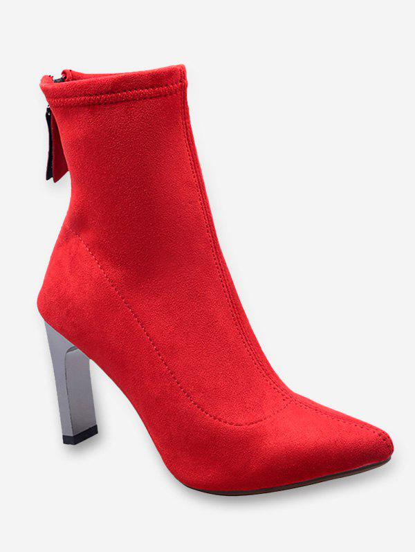 Affordable Block Heel Pointed Toe Suede Boots