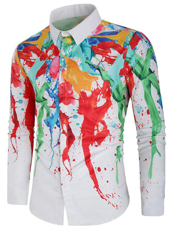 Shops Hidden Button Colorful Paint Splatter Shirt