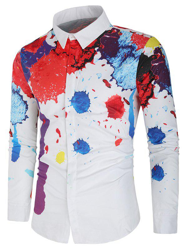 Unique Hidden Button Paint Splatter Casual Shirt