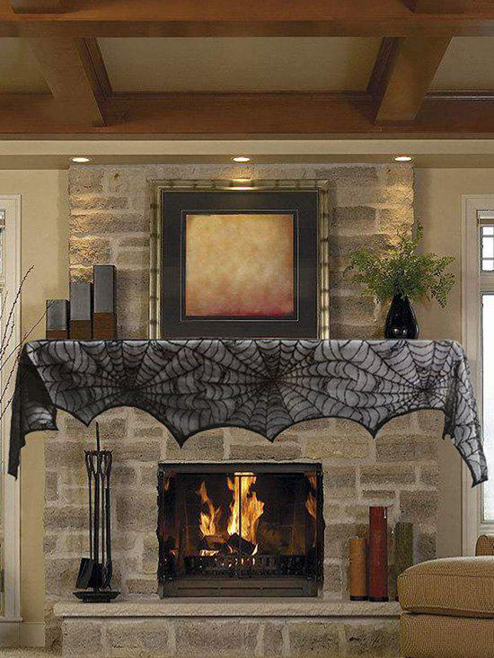 Discount Halloween Party Decoration Spiderweb Lace Table cloth Fireplace Cloth