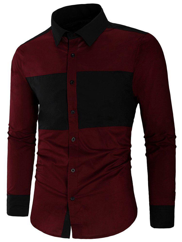 Affordable Color Block Long Sleeve Shirt