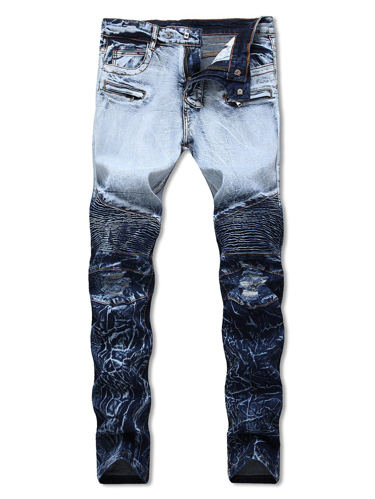 Buy Covered Zippers Pleated Motorcycle Jeans