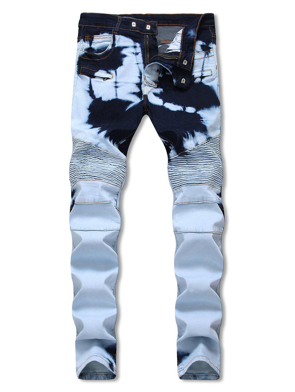Buy Hidden Zipper Decorated Stretchy Biker Jeans