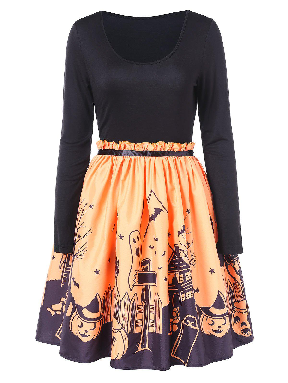 Affordable Halloween Print Fit and Flare Dress