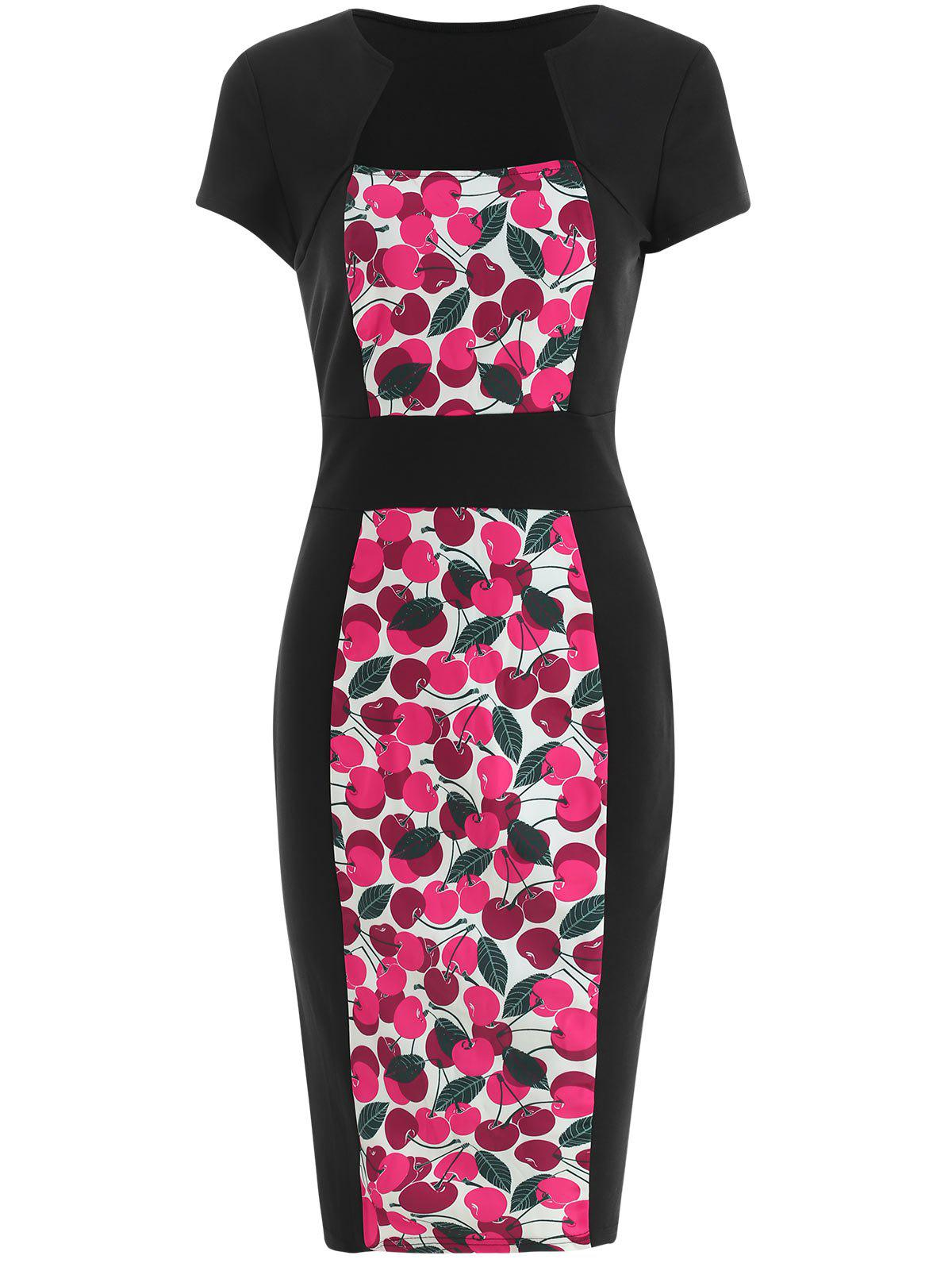 New Cherry Print Cap Sleeve Bodycon Dress