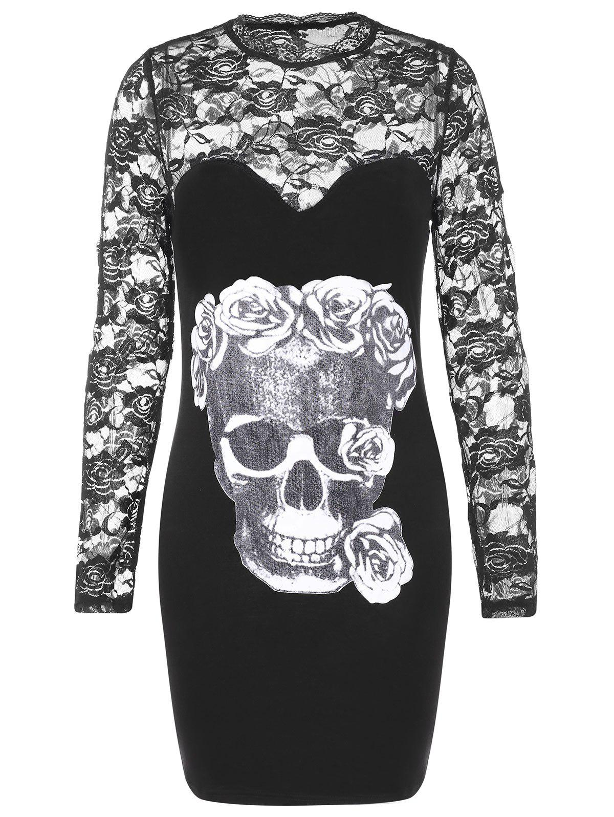 Trendy Halloween Skulls Print Lace Sleeve Bodycon Dress
