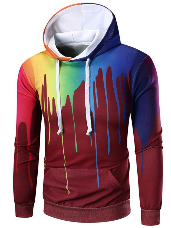 Affordable Rainbow Paint Kangaroo Pocket Hoodie