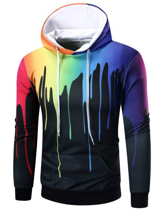 Unique Rainbow Paint Kangaroo Pocket Hoodie
