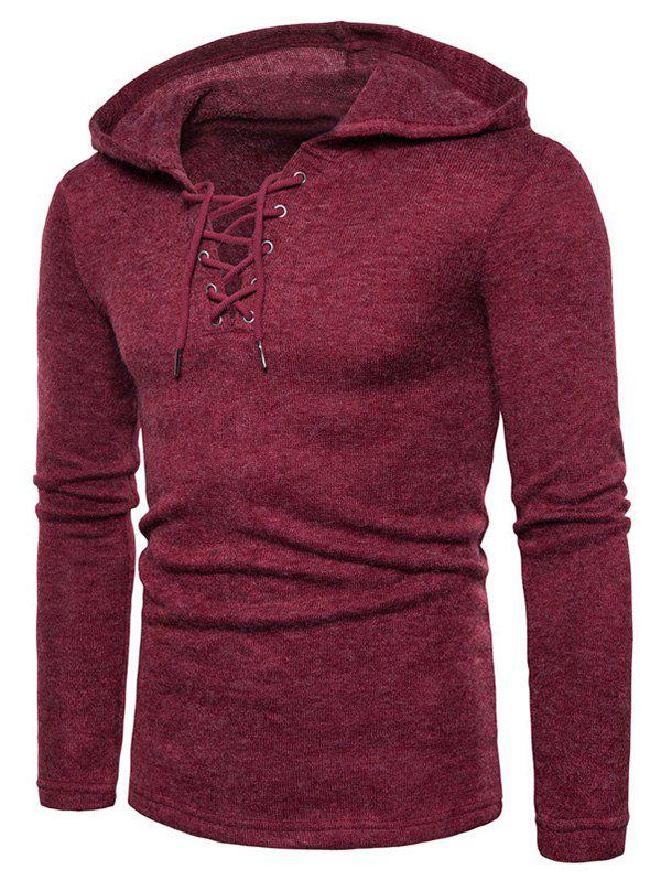 Store Lace Up Hooded Long Sleeve Sweater