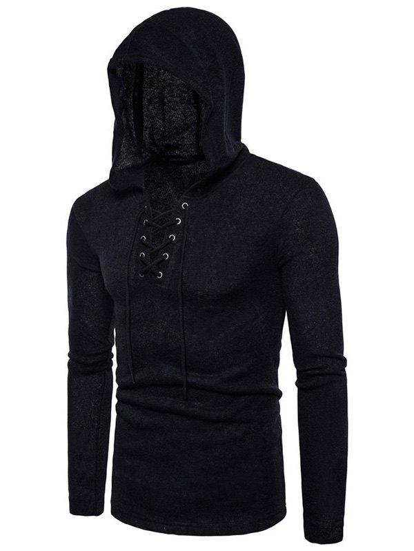 Unique Lace Up Hooded Long Sleeve Sweater