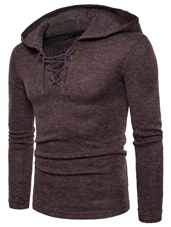 Fancy Lace Up Hooded Long Sleeve Sweater