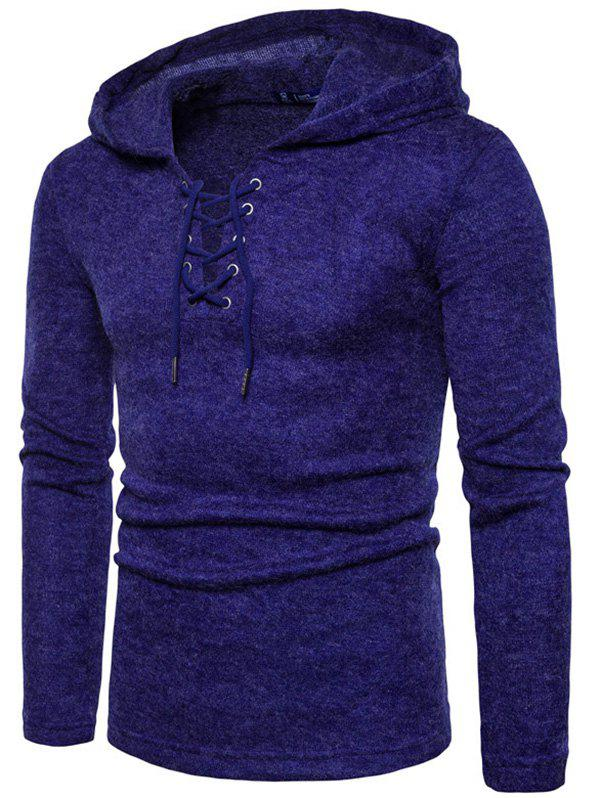Cheap Lace Up Hooded Long Sleeve Sweater