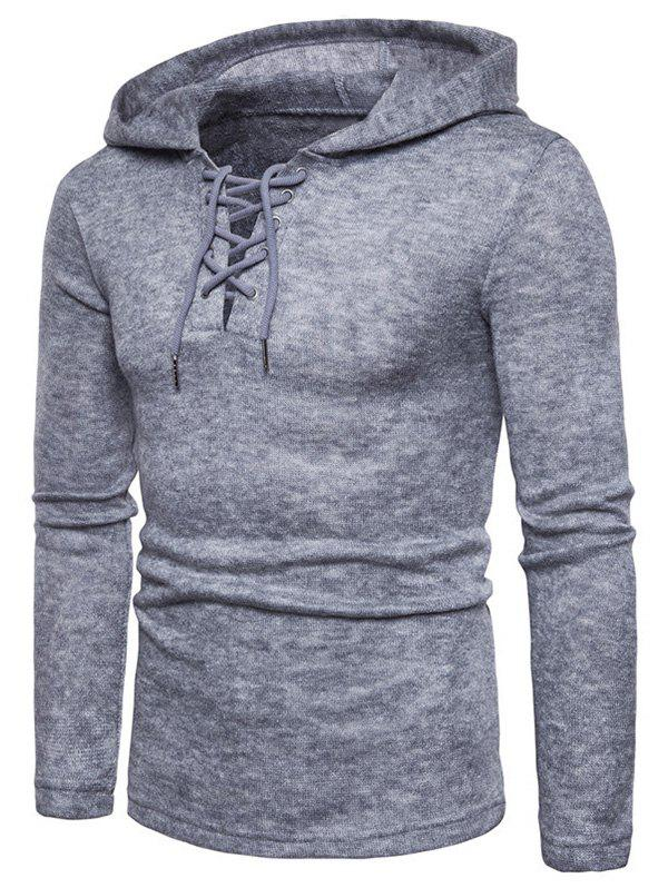 Affordable Lace Up Hooded Long Sleeve Sweater