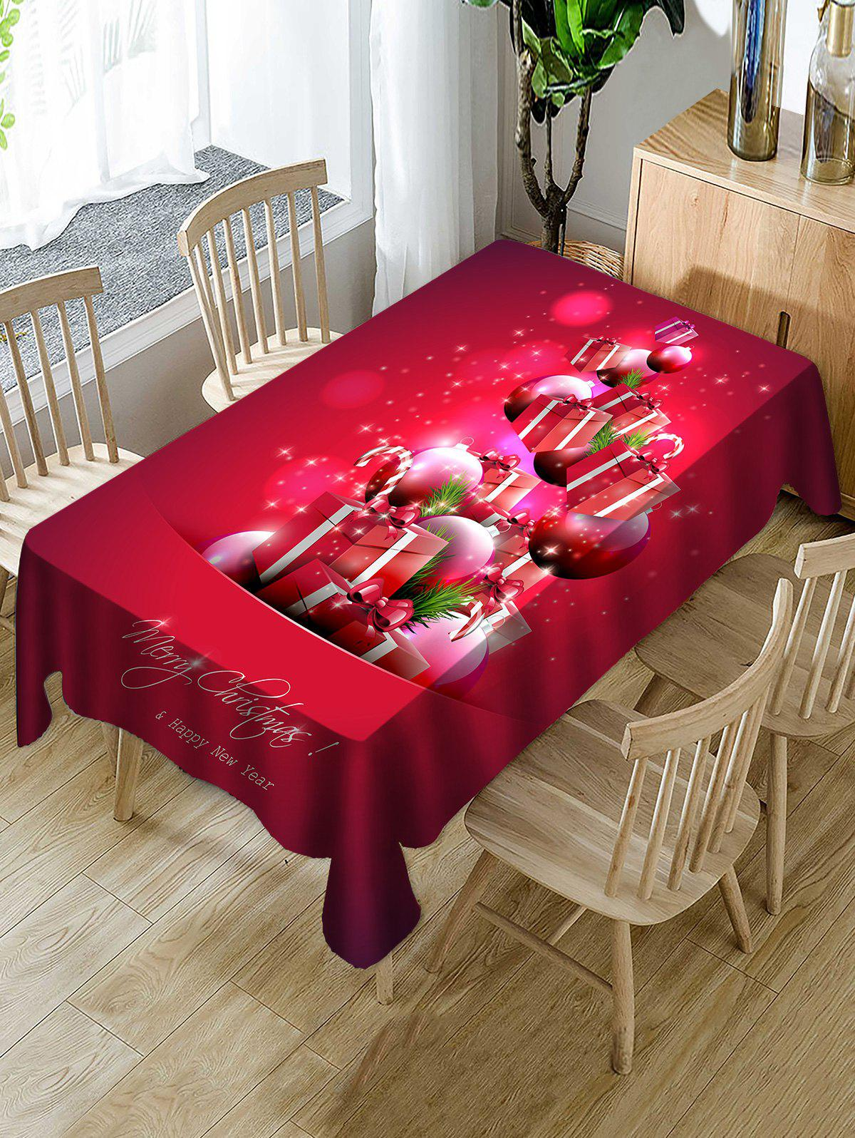 Shop Christmas Gifts Ball Print Fabric Waterproof Tablecloth