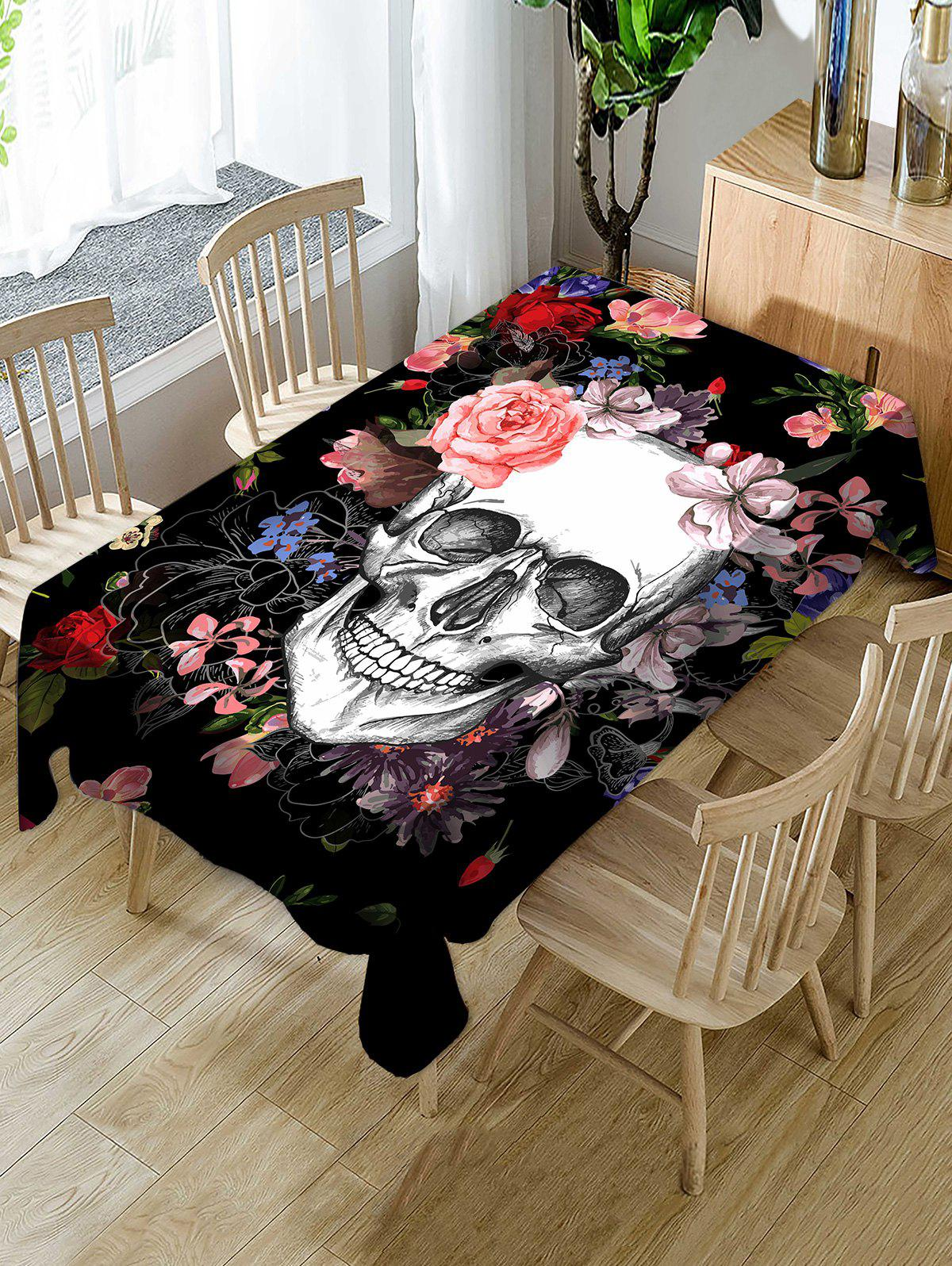Affordable Halloween Flowers Skull Print Fabric Waterproof Tablecloth