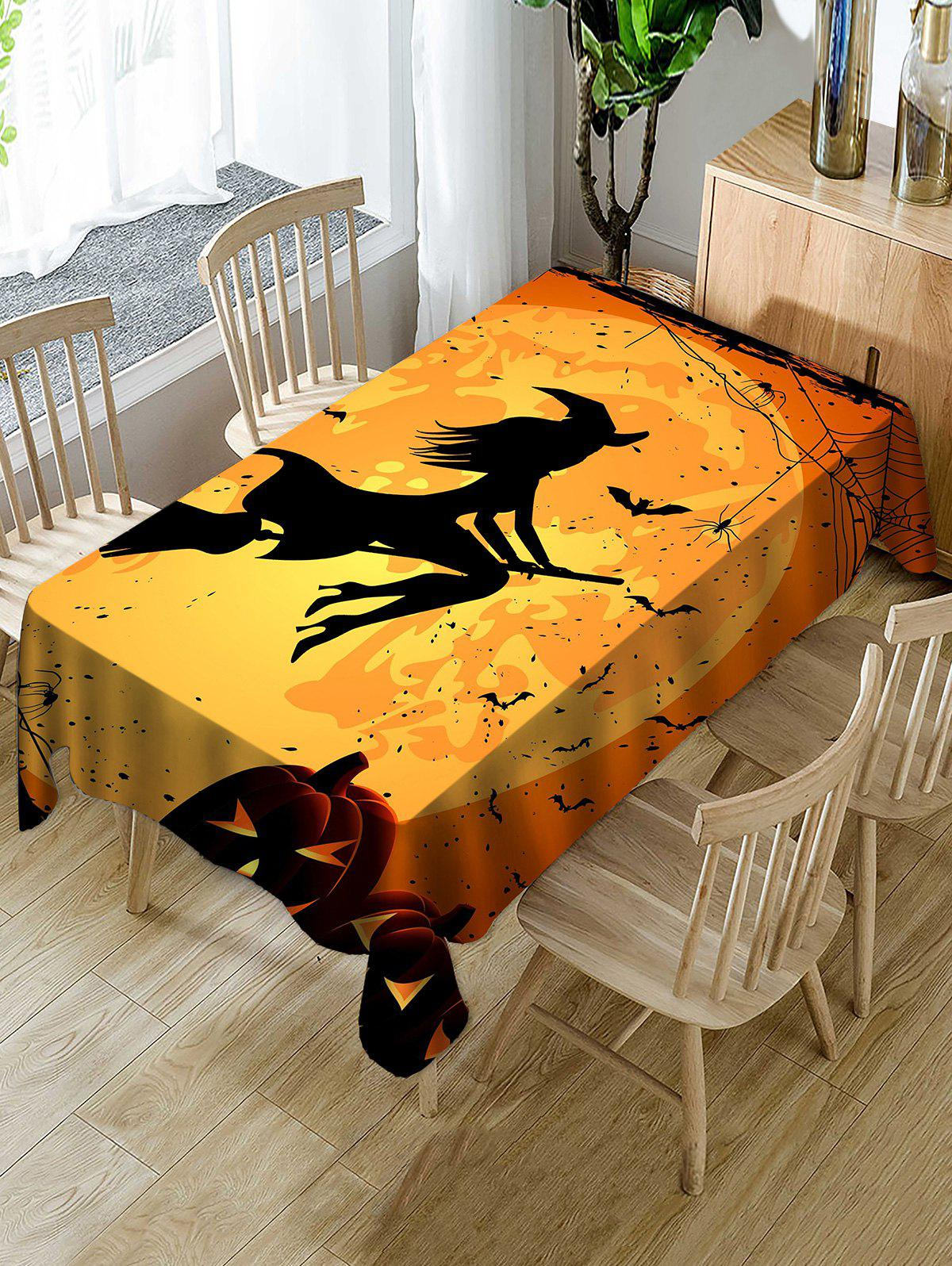Shop Halloween Moon Witch Print Fabric Waterproof Tablecloth