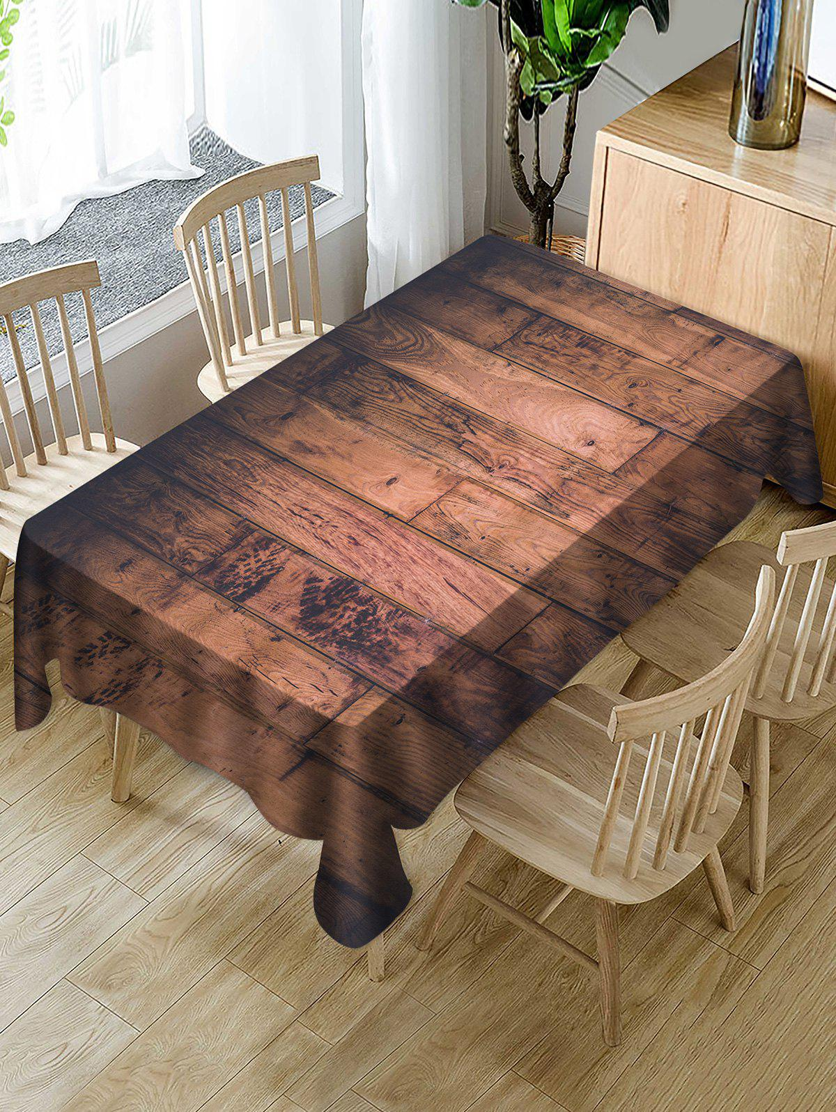 Fashion Wood Board Print Fabric Waterproof Tablecloth