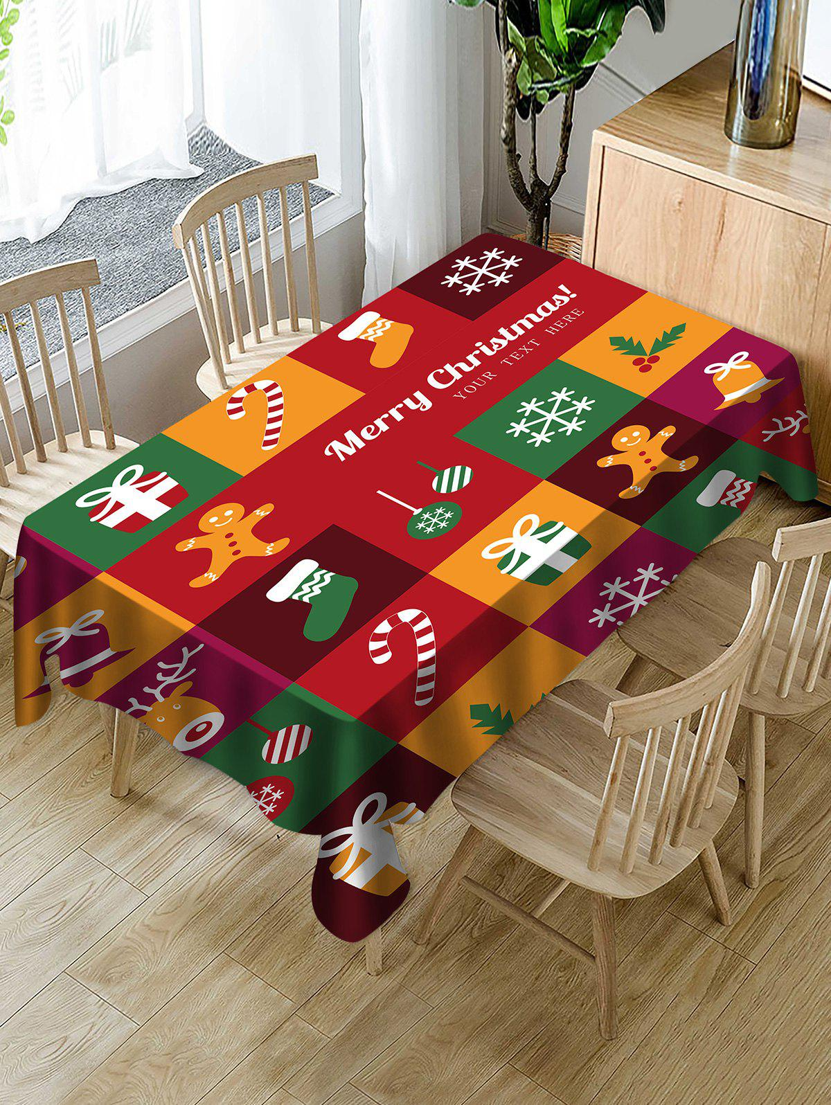 Outfit Christmas Patchwork Print Fabric Waterproof Tablecloth