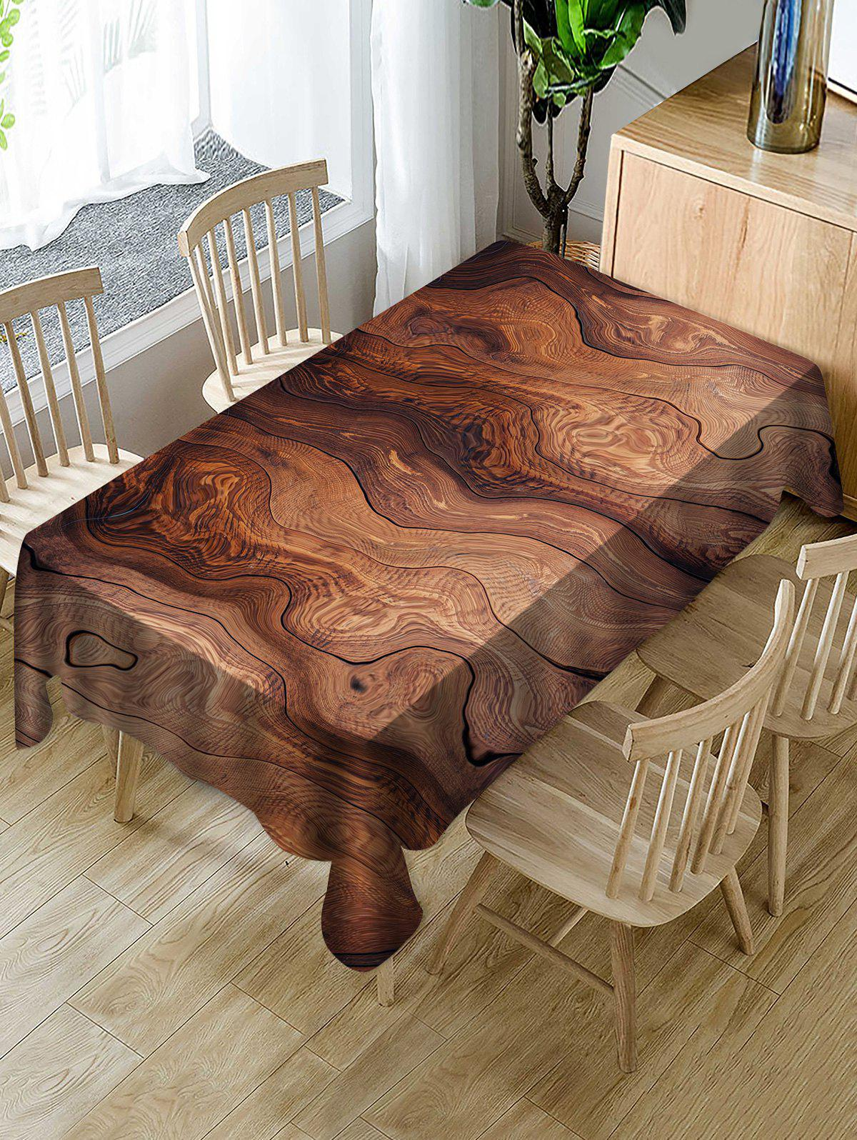 Shops Wood Grain Print Fabric Waterproof Tablecloth