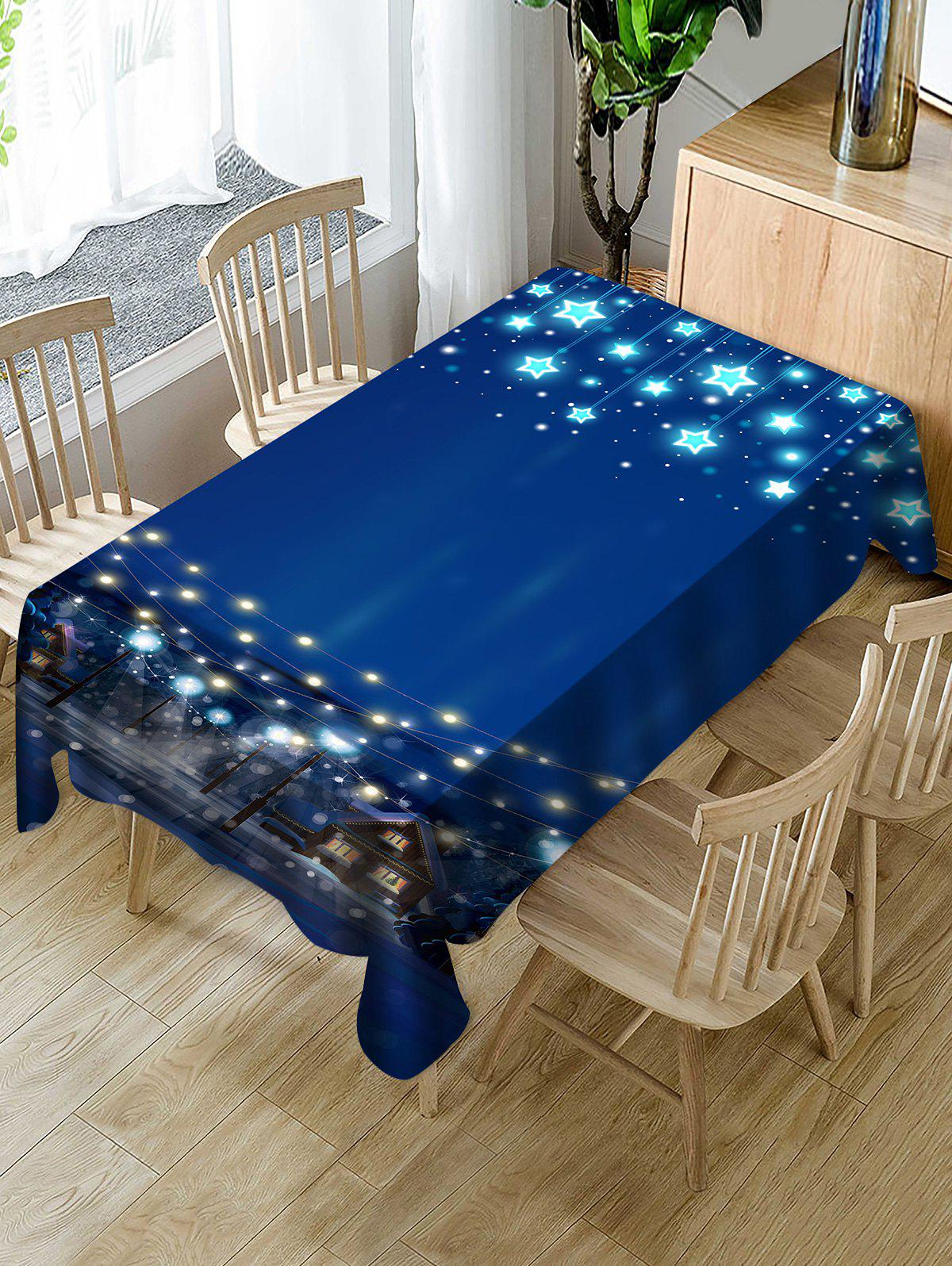 Best Christmas Starry Night Print Fabric Waterproof Tablecloth