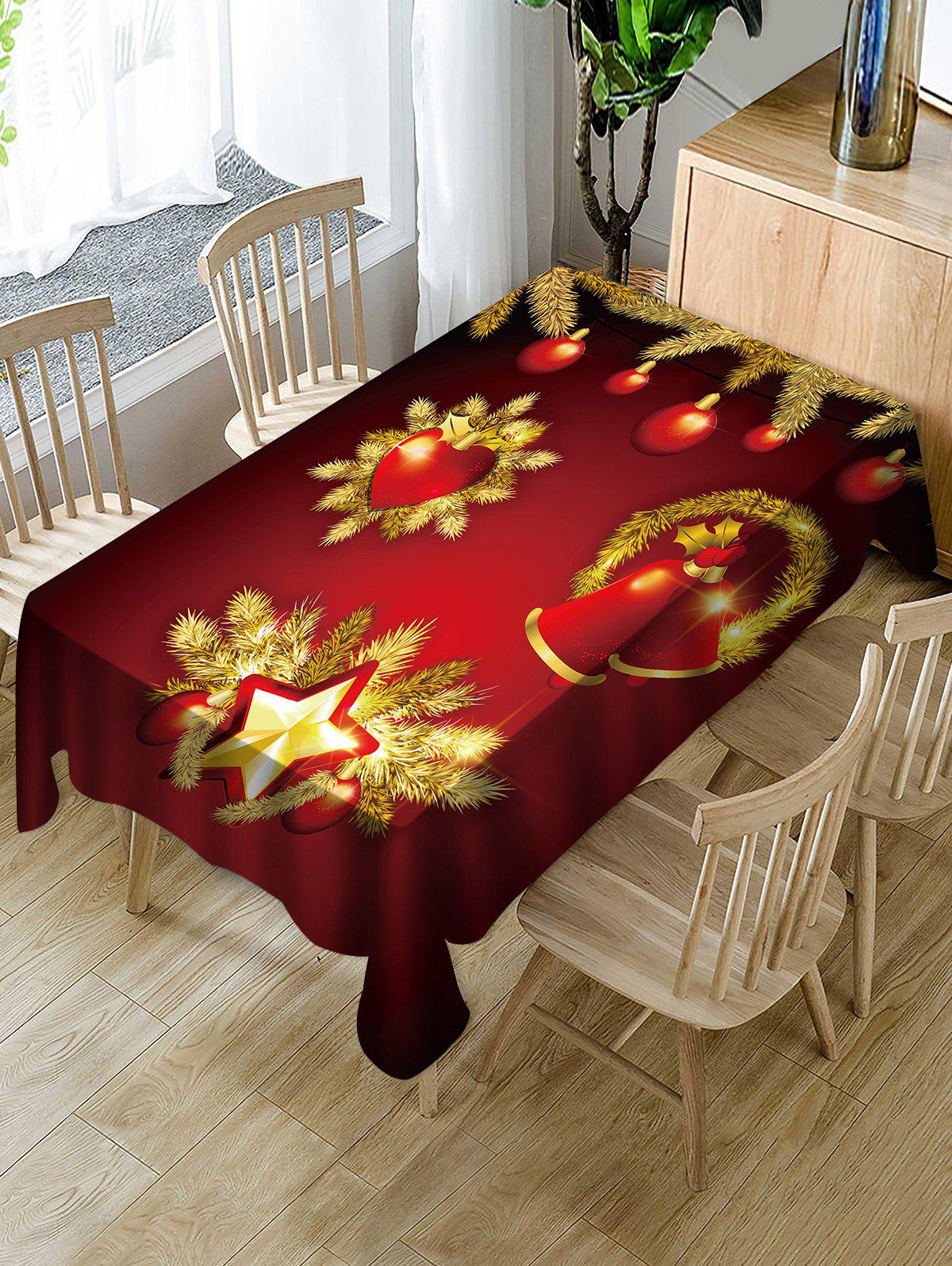 Outfits Christmas Balls Bells Print Fabric Waterproof Tablecloth