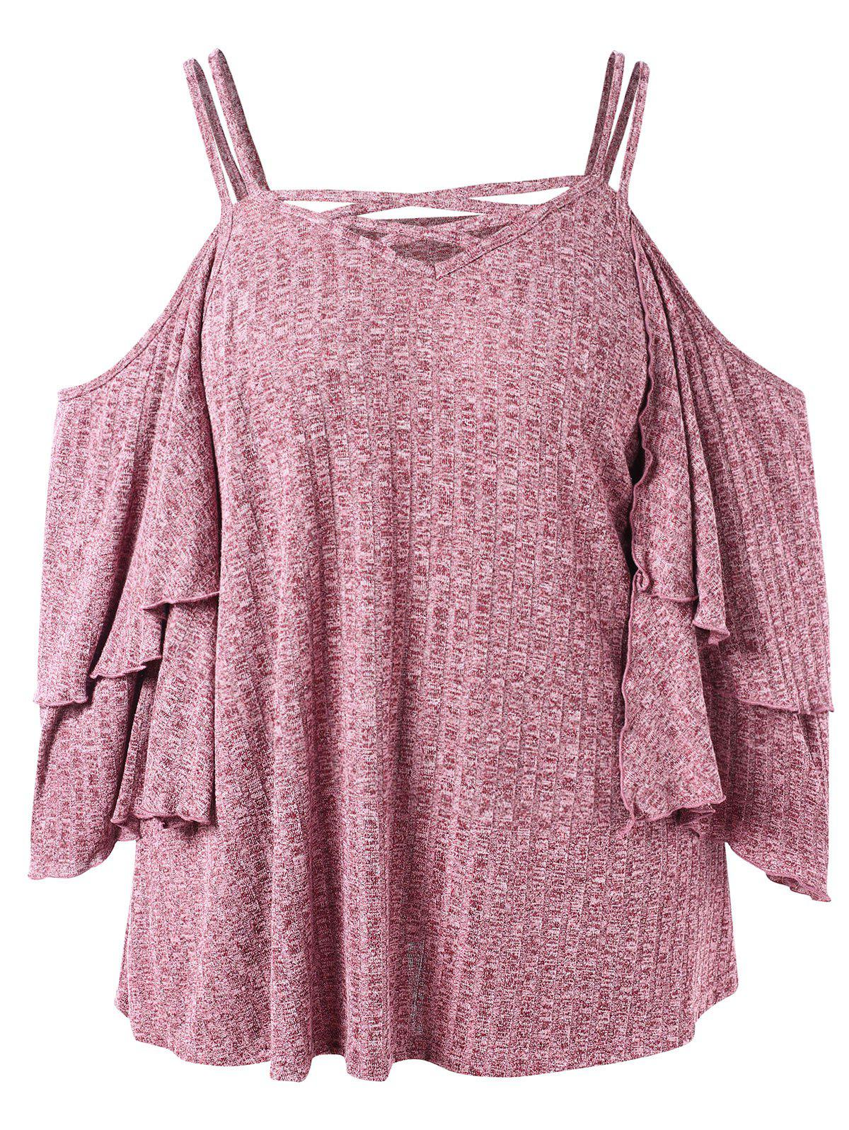 Store Plus Size Open Shoulder Space Dyed T-shirt