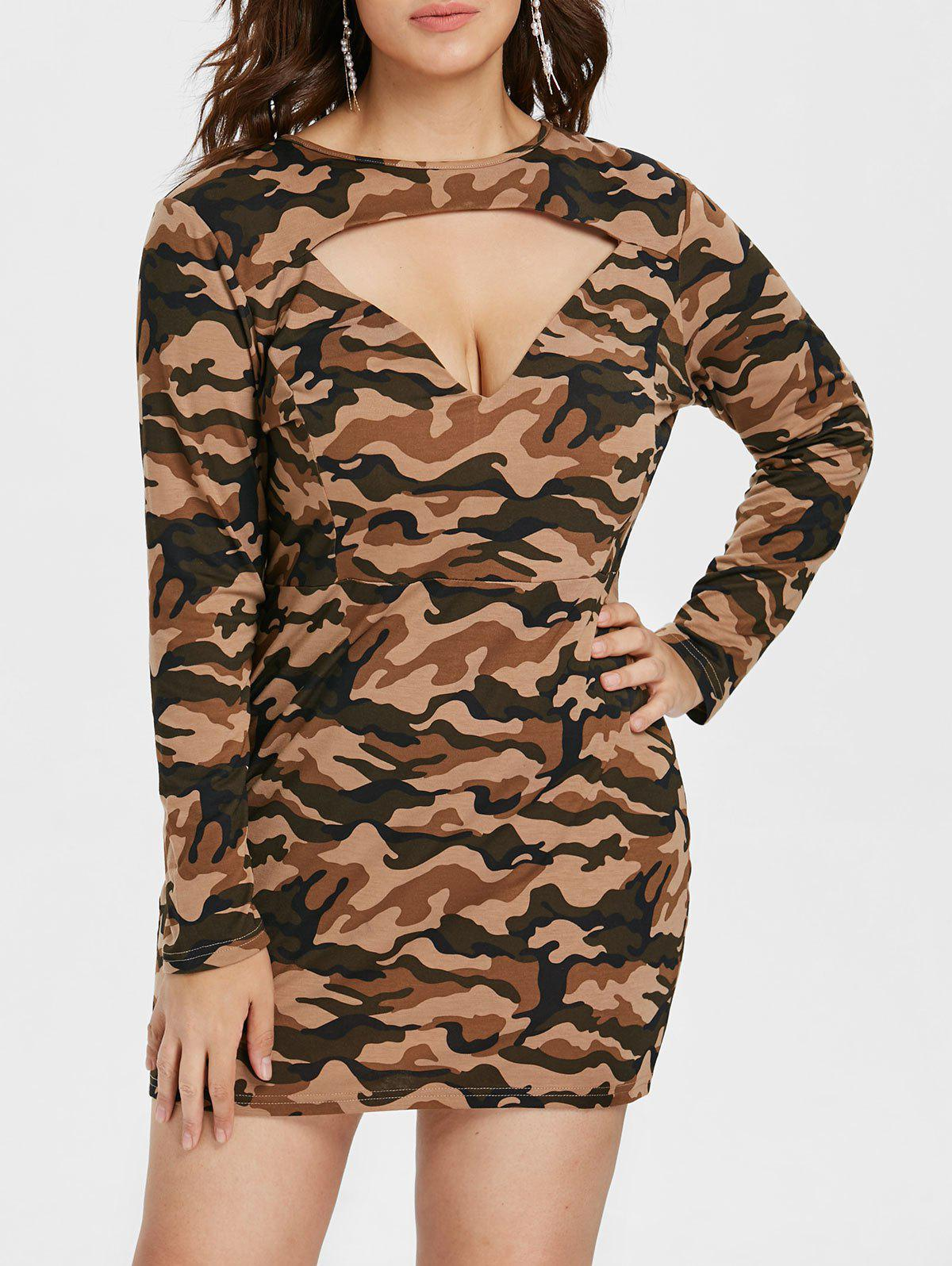 Trendy Plus Size Cut Out Camo Print Dress