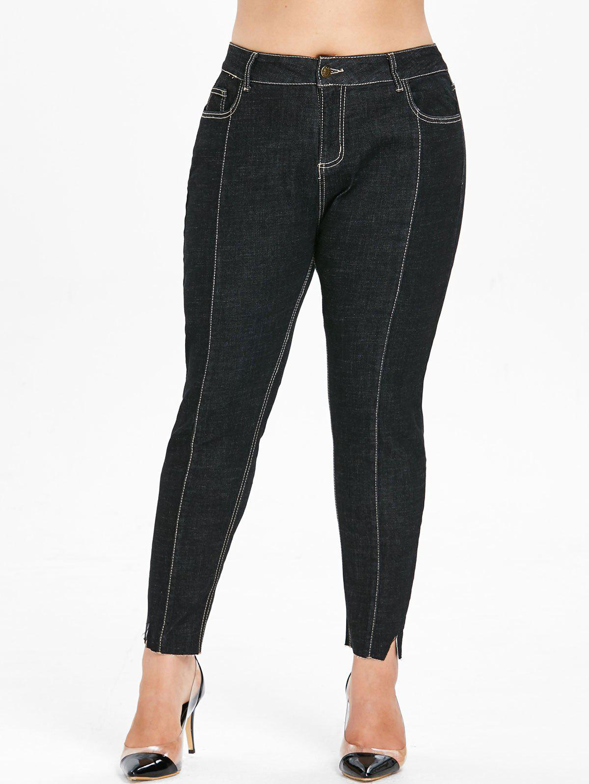 Affordable Plus Size Cut Hem Jeans
