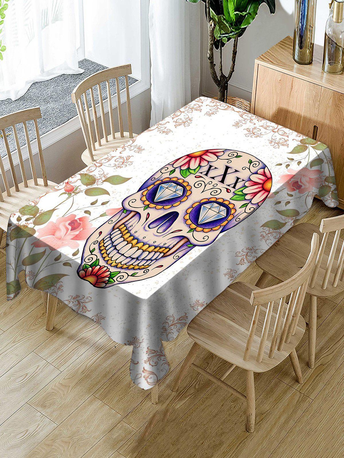 Fancy Halloween Skull Floral Print Fabric Waterproof Tablecloth