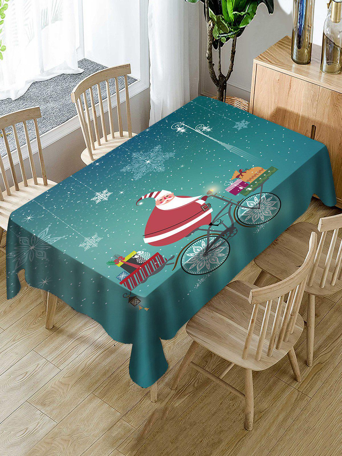 Affordable Christmas Santa Claus Gifts Print Fabric Waterproof Tablecloth