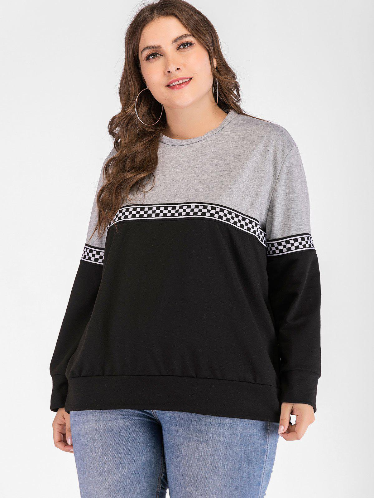 New Checked Print Plus Size Color Block Sweatshirt
