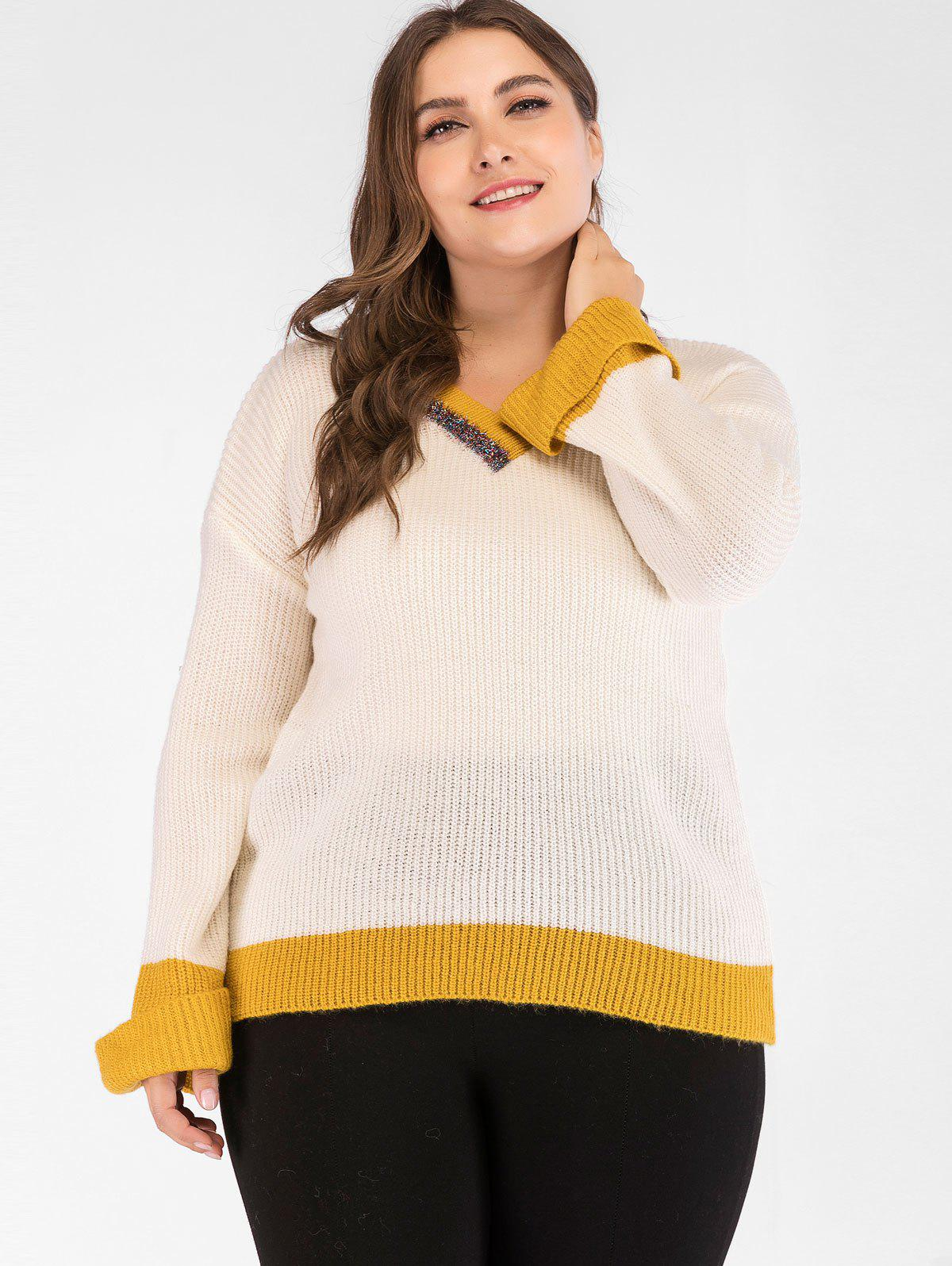 Affordable Drop Shoulder Plus Size Two Tone Sweater