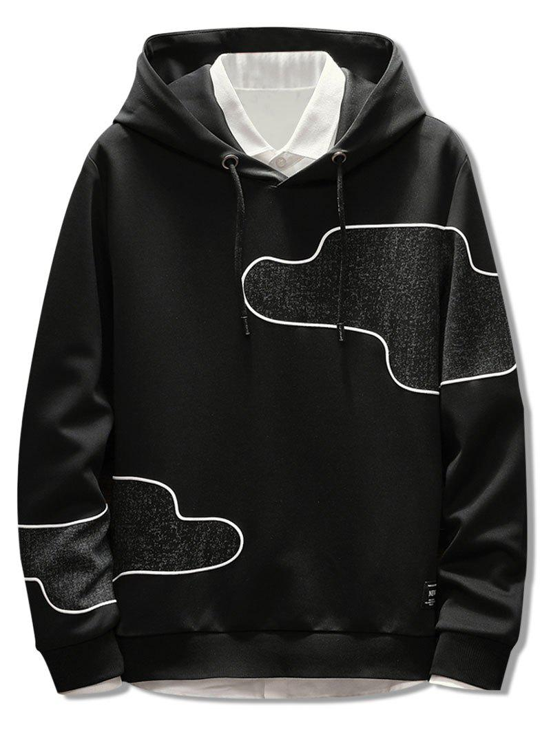 Discount Irregular Patch Casual Drawstring Hoodie