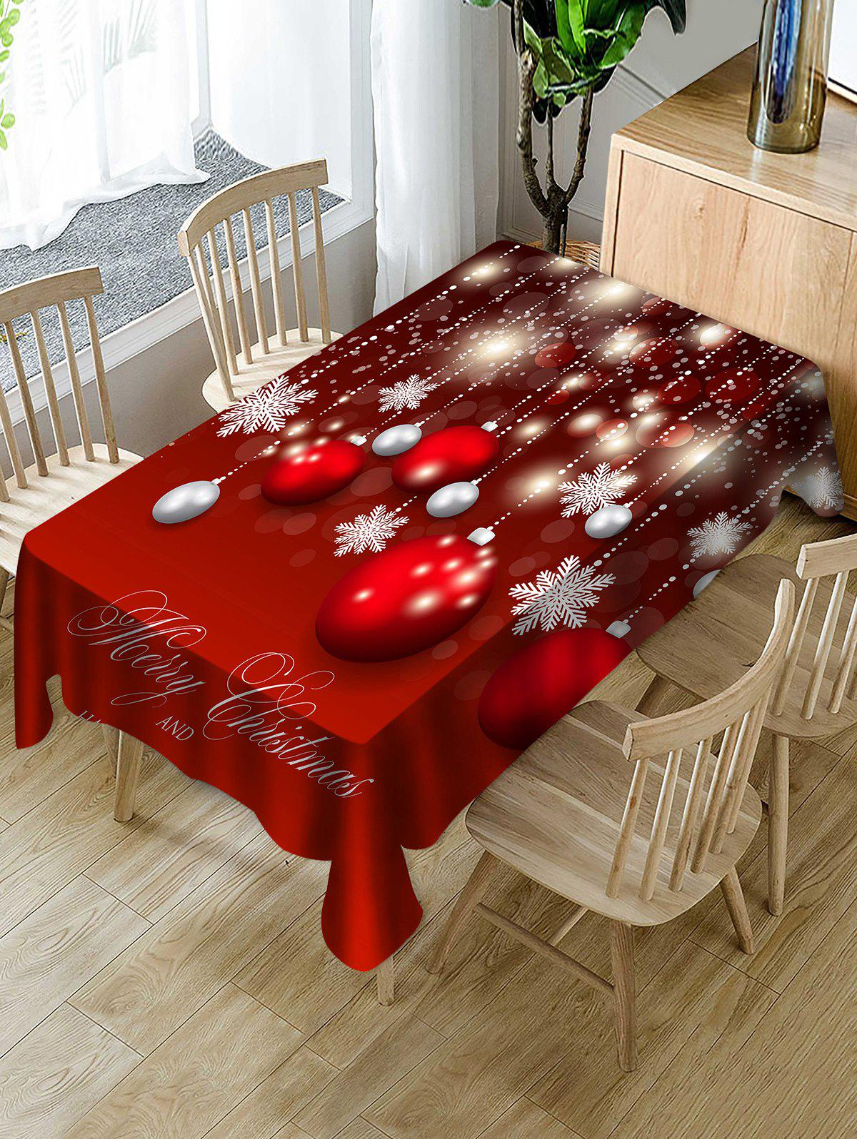 Buy Christmas Ball Snowflake Print Fabric Waterproof Tablecloth