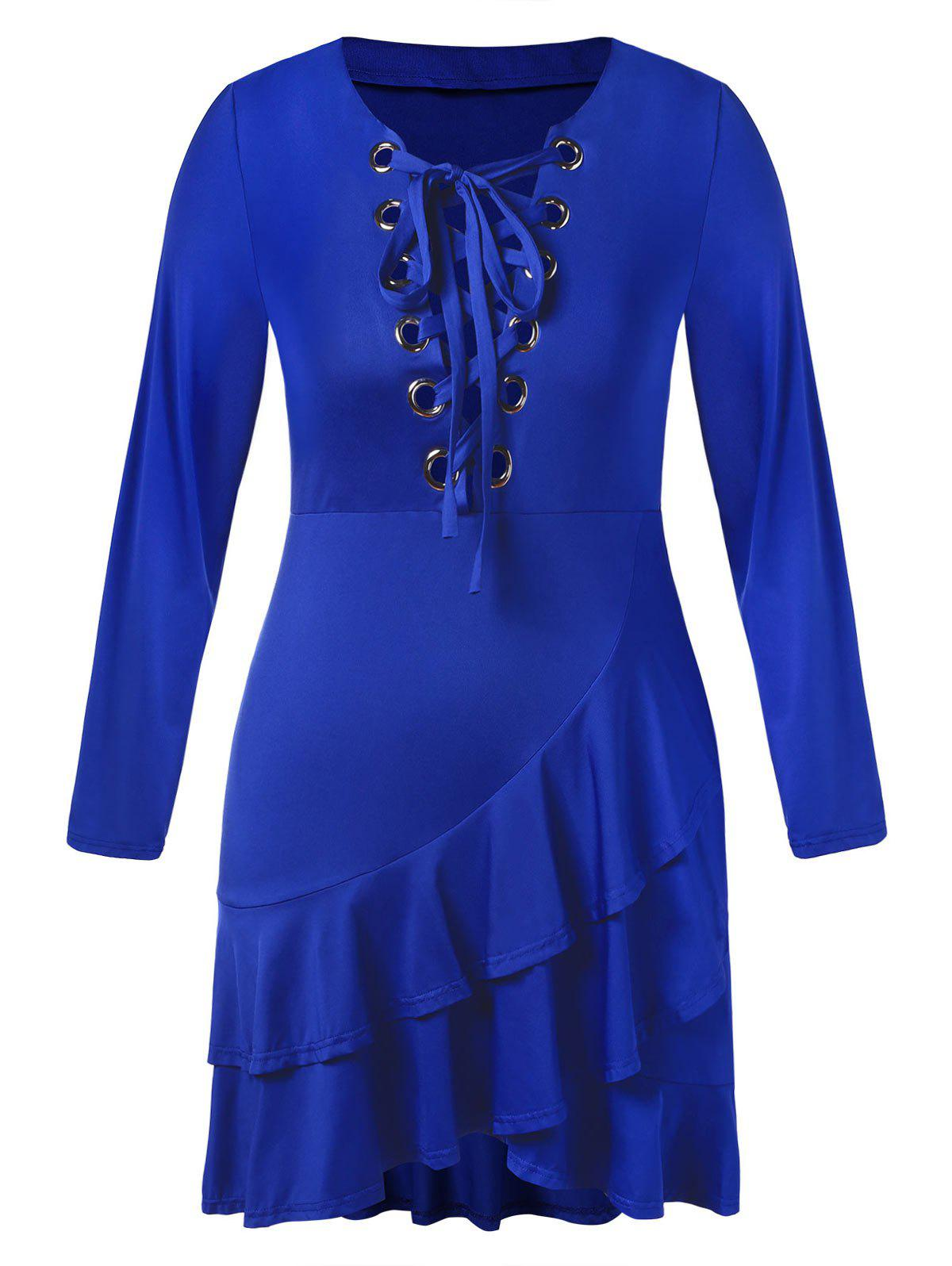 Discount Plus Size Lace Up Flounced Midi Dress