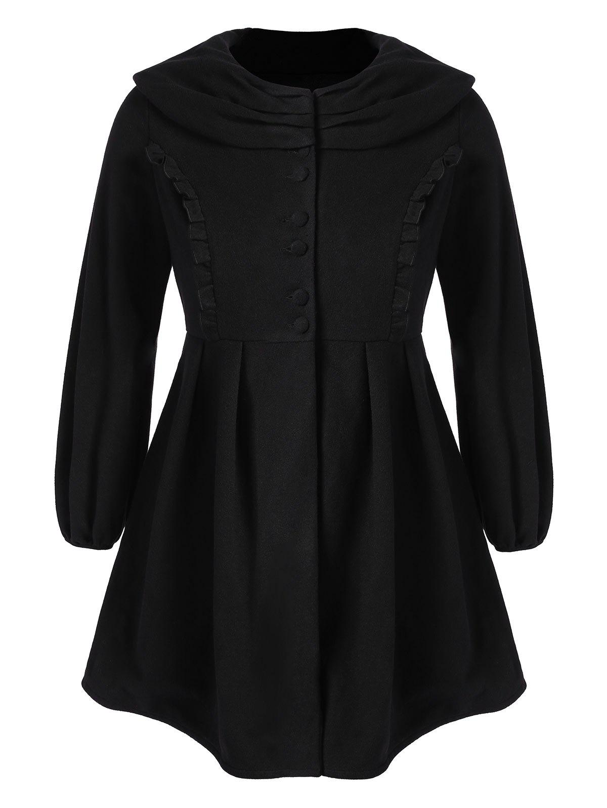 Trendy Plus Size Ruffle Long Skirted Coat