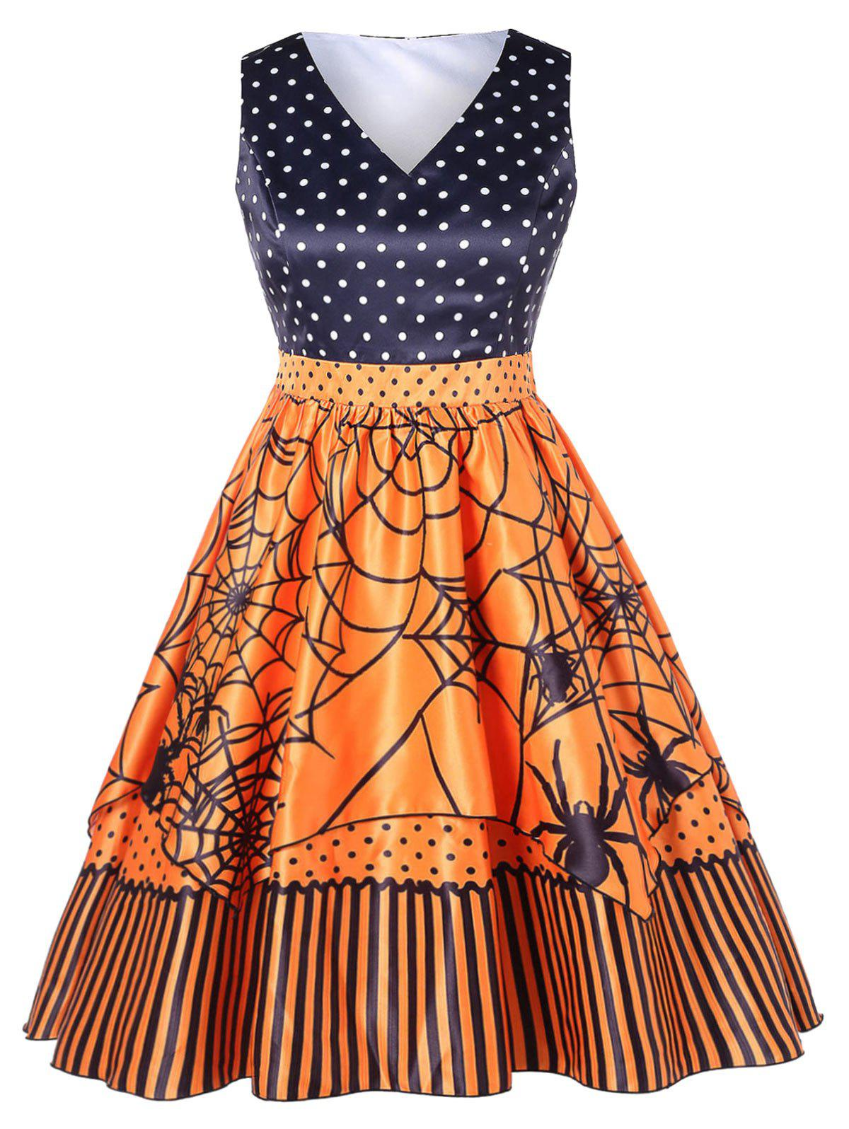 Fashion Polka Dot Plus Size Spider Print Halloween Vintage Dress