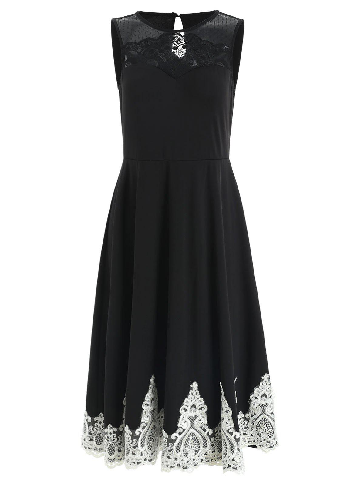 Online Lace Panel Sleeveless Fit and Flare Dress