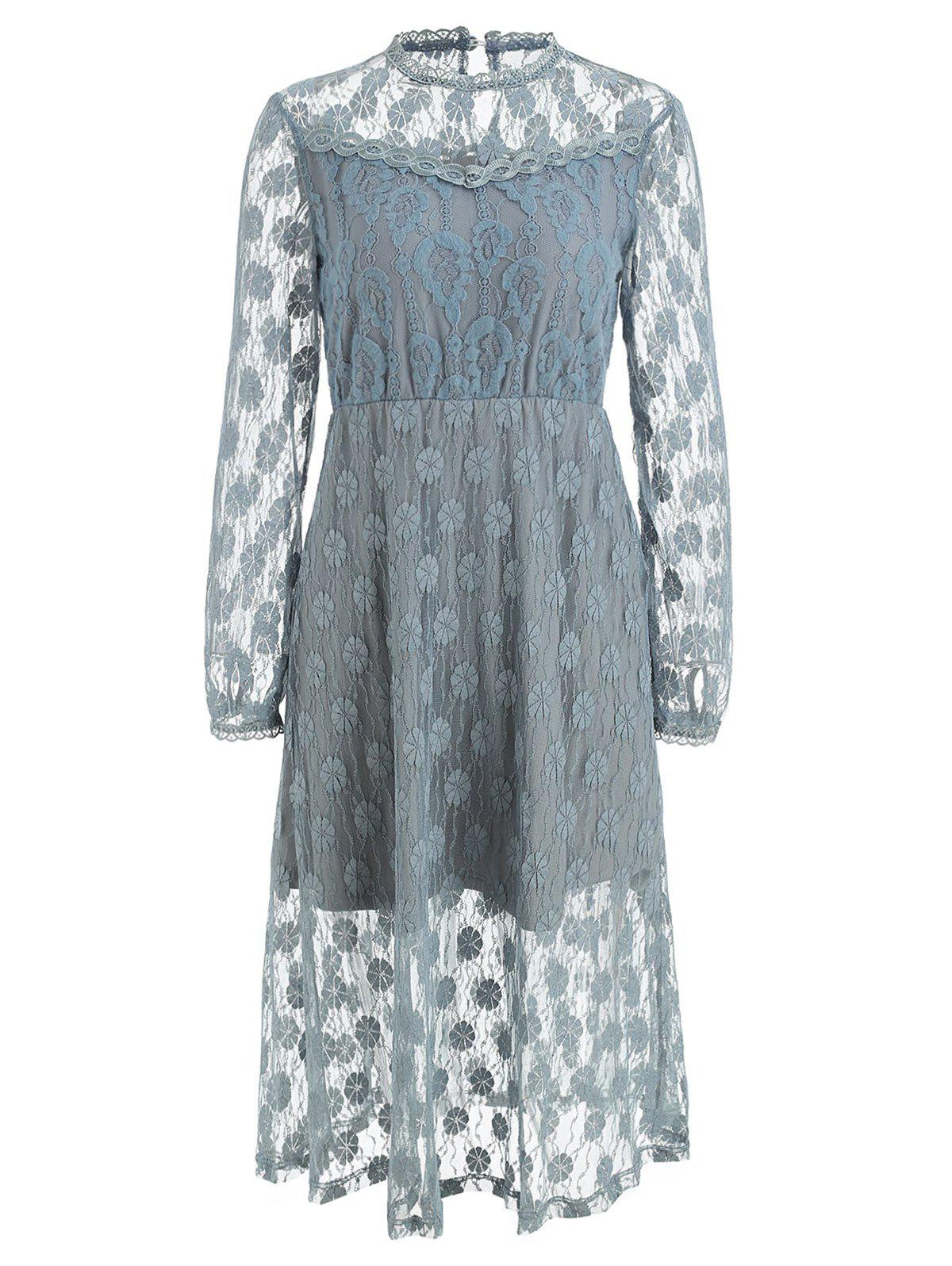 Affordable Full Sleeve Floral Lace Dress